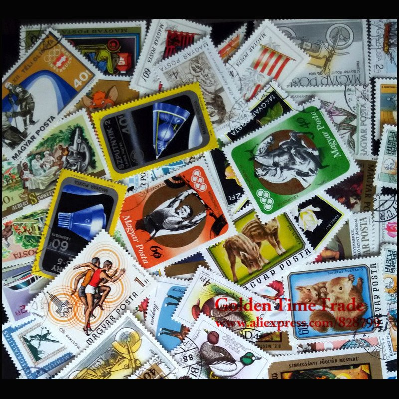 100Pcs Hungary/Ungarn Unused With Post Mark All Different Postage Stamps For Collecting