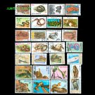 50Pcs All Different Reptiles Unused Postage Stamps With Post Mark In Good Condition For Collection