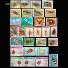 50Pcs Insects All Different Unused Postage Stamps With Post Mark For Colleciton