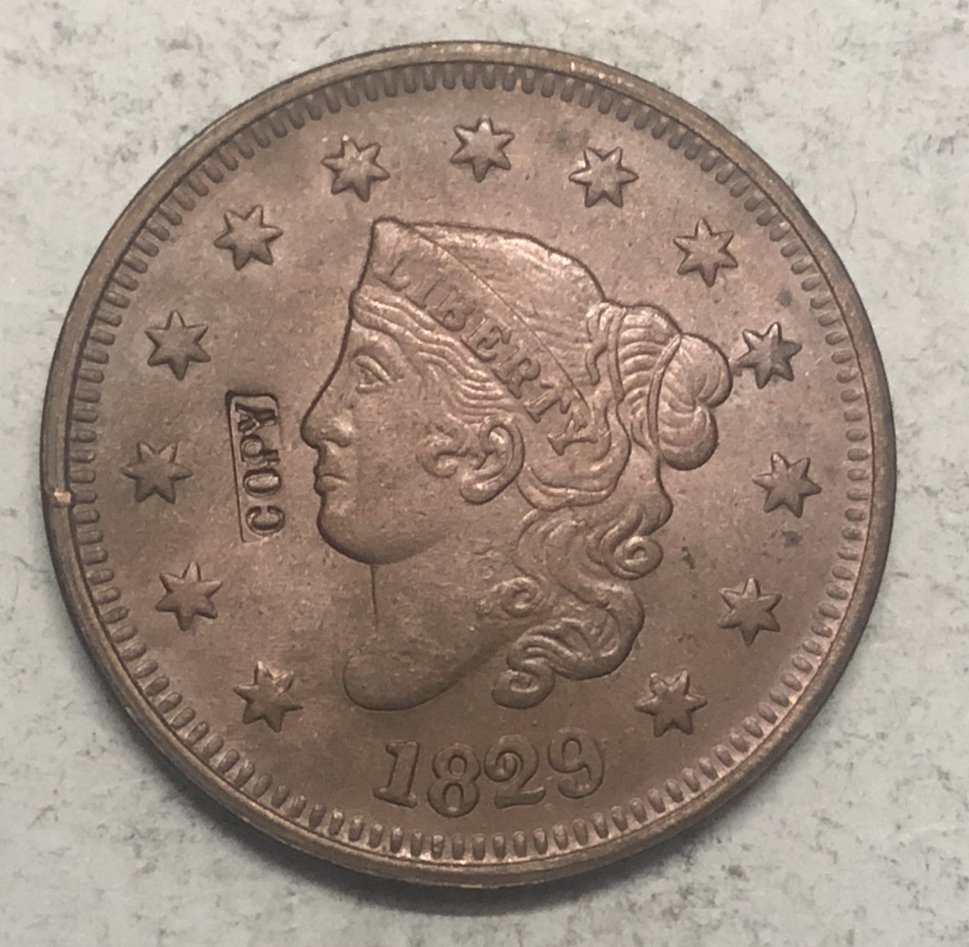 1829 United States Braided Hair Large One Cent Copy Coin