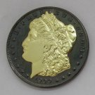 1900 United States Black Ruthenium Morgan Dollar 2 Sided Gold Plated Copy Coin