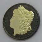 1897 United States Black Ruthenium Morgan Dollar 2 Sided Gold Plated Copy Coin