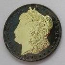 1892-CC United States Black Ruthenium Morgan Dollar 2 Sided Gold Plated Copy Coin