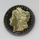 1881-CC United States Black Ruthenium Morgan Dollar 2 Sided Gold Plated Copy Coin