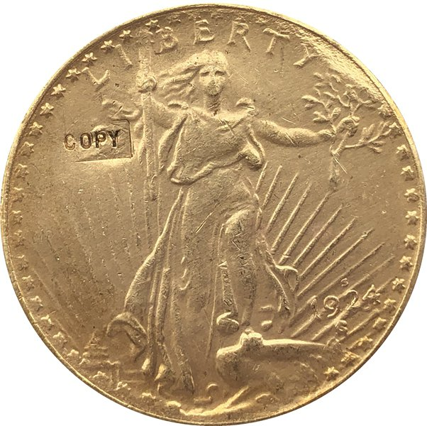 US 1924-S Saint Gaudens $20 Twenty Dollars Gold Copy Coin  For Collection