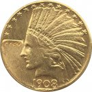 US 1908-D Indian Head Half Eagle $10 Ten Dollars Gold Copy Coin  For Collection