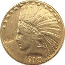 US 1910 Indian Head Half Eagle $10 Ten Dollars Gold Copy Coin  For Collection