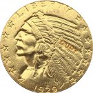 US 1929 Indian Half Eagle $5 Five Dollars Gold Copy Coin  For Collection