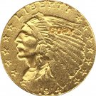 US 1914-D Indian Half Eagle $5 Five Dollars Gold Copy Coin  For Collection