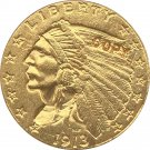 US 1913-S Indian Half Eagle $5 Five Dollars Gold Copy Coin  For Collection