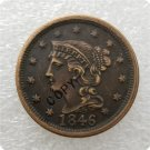 US 1846 Braided Hair Large Cent Copy Coin  For Collection