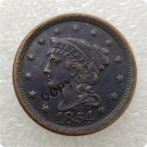 US 1854 Braided Hair Large Cent Copy Coin  For Collection