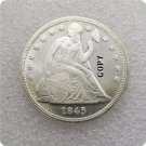 US 1845 Seated Liberty UNC Silver One Dollar Copy Coin  For Collection
