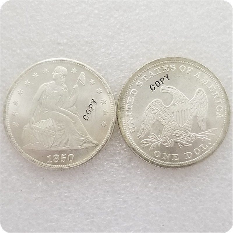 US 1850-O Seated Liberty UNC Silver One Dollar Copy Coin  For Collection
