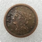 US 1852 Braided Hair Half Cent Copy Coin  For Collection