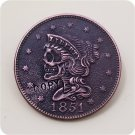 US 1851 Half Cents Hobo Nickle Copy Coin For Collection