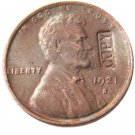US 1921-S Lincoln Head One Cent 100% Copper Copy Coin