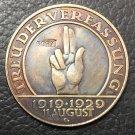 1929 Germany 3 Reichsmark Weimar Constitution Copy Coin