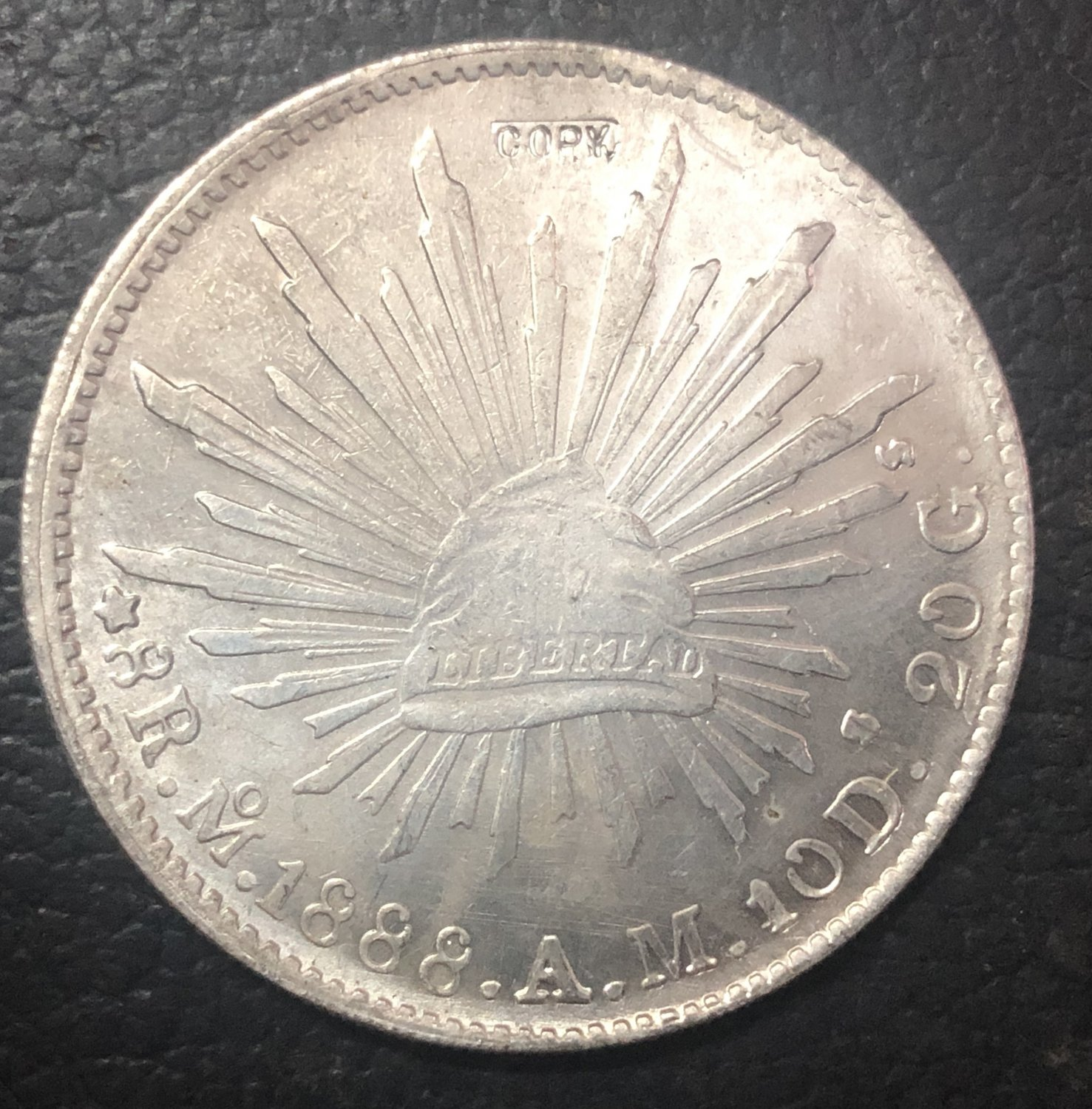 1888 Mexico 8 Reales Silver Plated Copy coin
