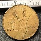 1980 Turkey 10 Kurus FAO Gold Copy Coin
