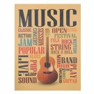 Music Guitar Kraft Paper Poster Cafe Bar Poster Retro Wall Sticker Decorative Painting 47X36cm