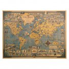 Blue Vintage Kraft Paper Poster World Map Great Building Wall Sticker Map Decor 68.5X51.5cm