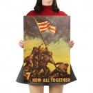 Raising The Flag on Iwo Jima Retro Kraft Paper Poster Decorative Painting Wall Sticker 51X36CM