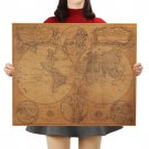 Vintage World Map Home Decoration Antique Poster Wall Kraft Paper Map Sticker 63x51cm