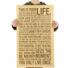 THIS IS YOUR LIFE SLOGAN Vintage Kraft Paper Poster Wall Sticker Retro Painting 75x45cm