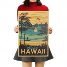 Aloha Hawaii Famous Tourist Landscape Painting Kraft Paper Poster Sticker 51x34cm