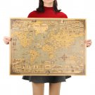 Vintage World Map Great Building Kraft Paper Poster Wall Sticker Art Craft Map 68.5X51.5cm