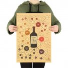 Red Wine Poster Kitchen Drawings Poster Adornment Retro Wall Sticker 51.5X36cm