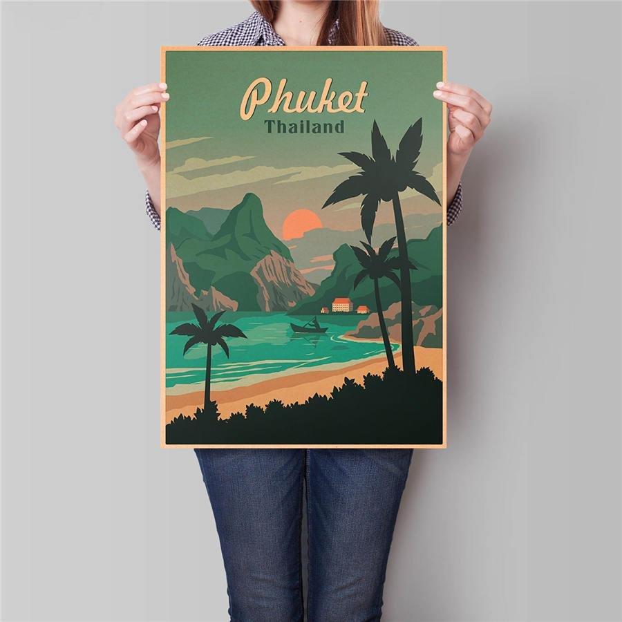 Thailand City Travel Poster Wall Art Sticker Vintage Kraft Paper Poster 42x30cm