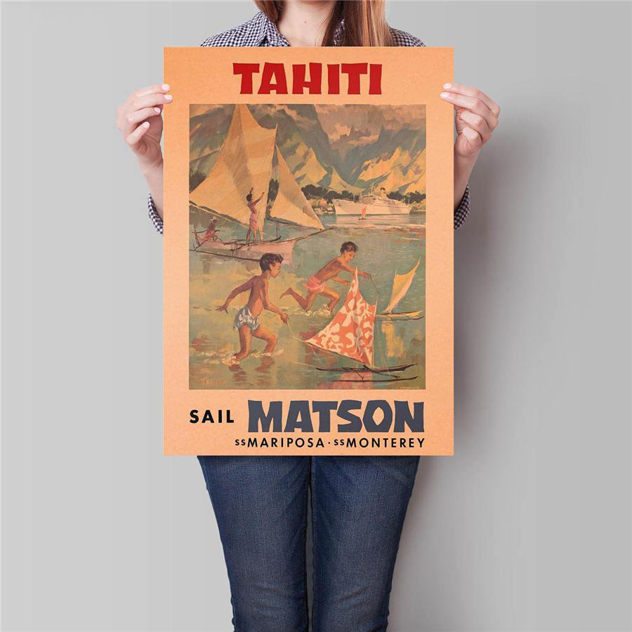 Tahiti City Travel Poster Hand Painted Tourist Attractions Vintage Kraft Paper Poster 42x30cm