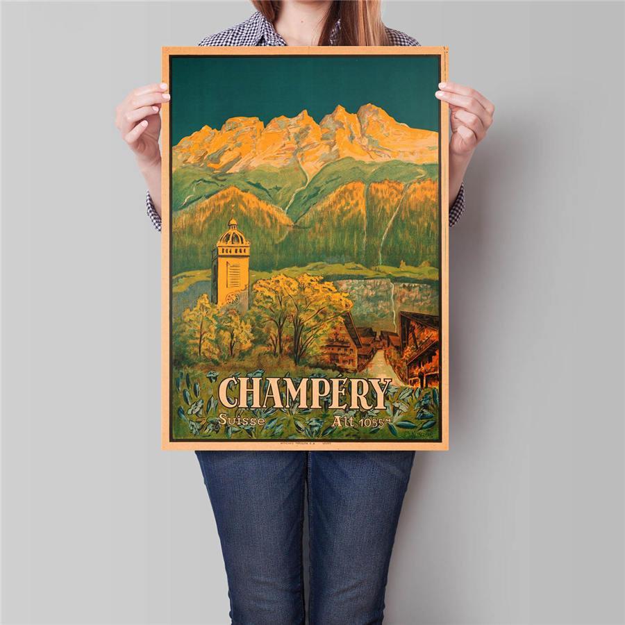 Switzerland City Travel Poster Antique Landscape Painting Vintage Kraft Paper Poster 42x30cm