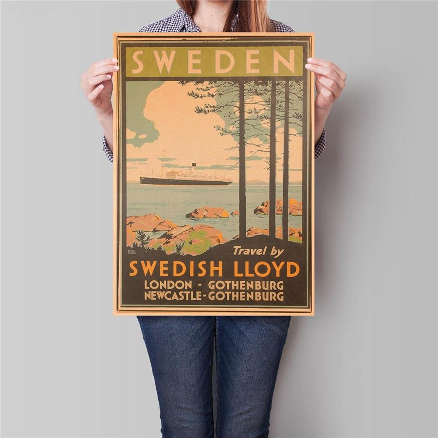 Sweden City Travel Poster Landscape Painting Vintage Kraft Paper Wall Sticker Poster 42x30cm
