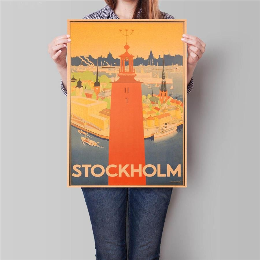 Stockholm City Landscape Poster Hand Painted Drawing Wall Art Sticker Poster 42x30cm