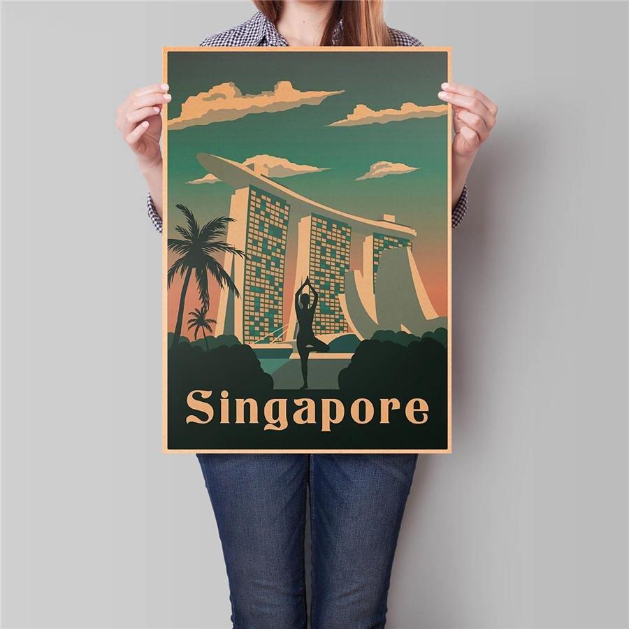 Singapore City Travel Poster Hand Painted Tourist Vintage Kraft Paper Poster 42x30cm
