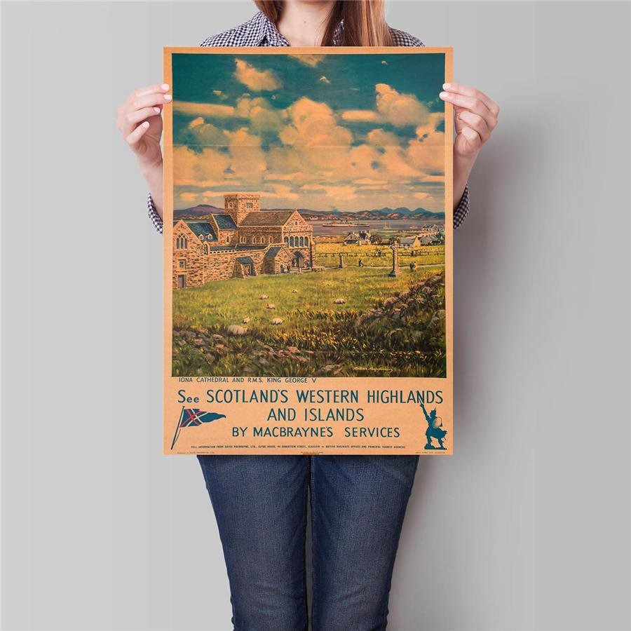 Scotland City Travel Poster Hand Painted Tourist Attractions Vintage Kraft Paper Poster 42x30cm