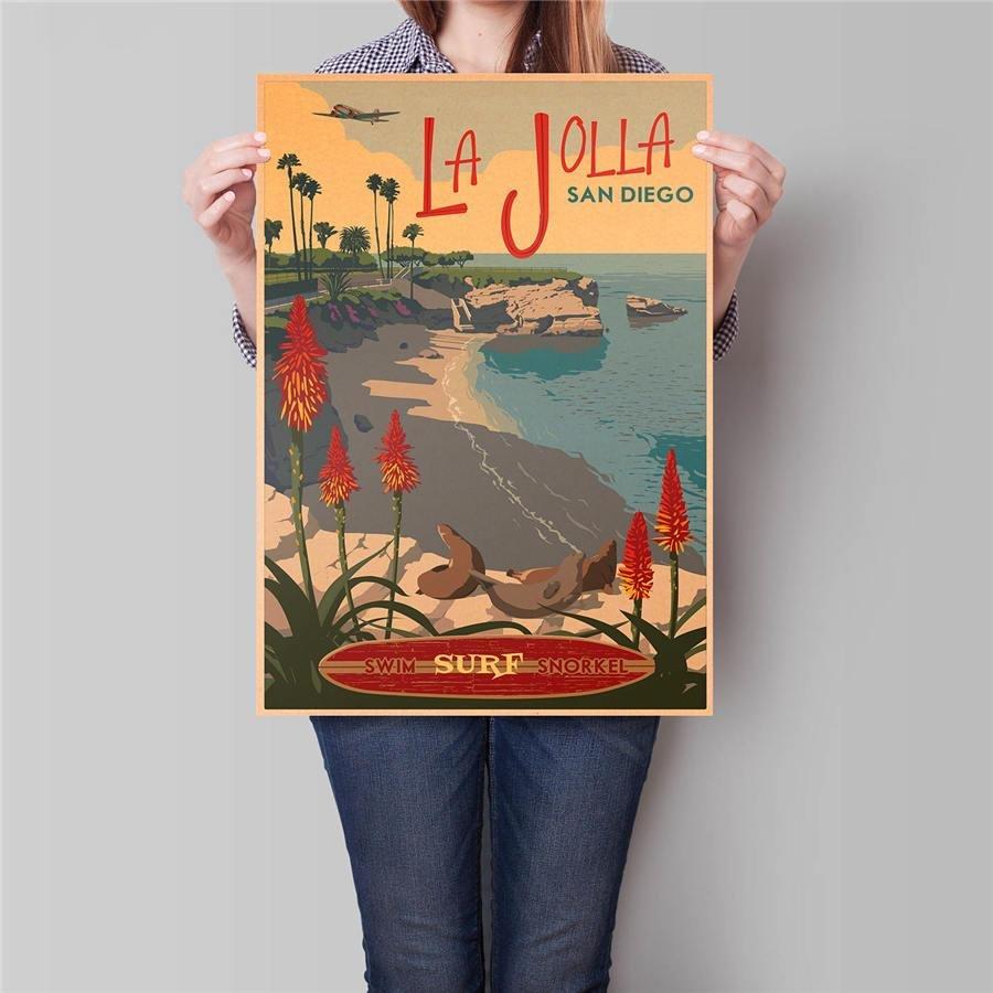 San Diego City Trip Poster Wall Art Sticker Vintage Kraft Paper Poster 42x30cm