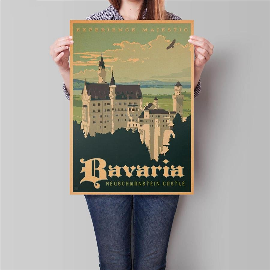 Bavaria Building Poster Hand Painted Drawing Wall Art Sticker Vintage Kraft Paper Poster 42x30cm