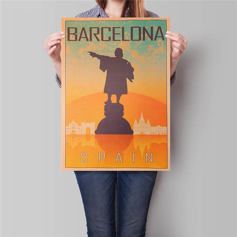 Barcelona City Landscape Poster Hand Painted Drawing Wall Art Sticker Kraft Paper Poster 42x30cm