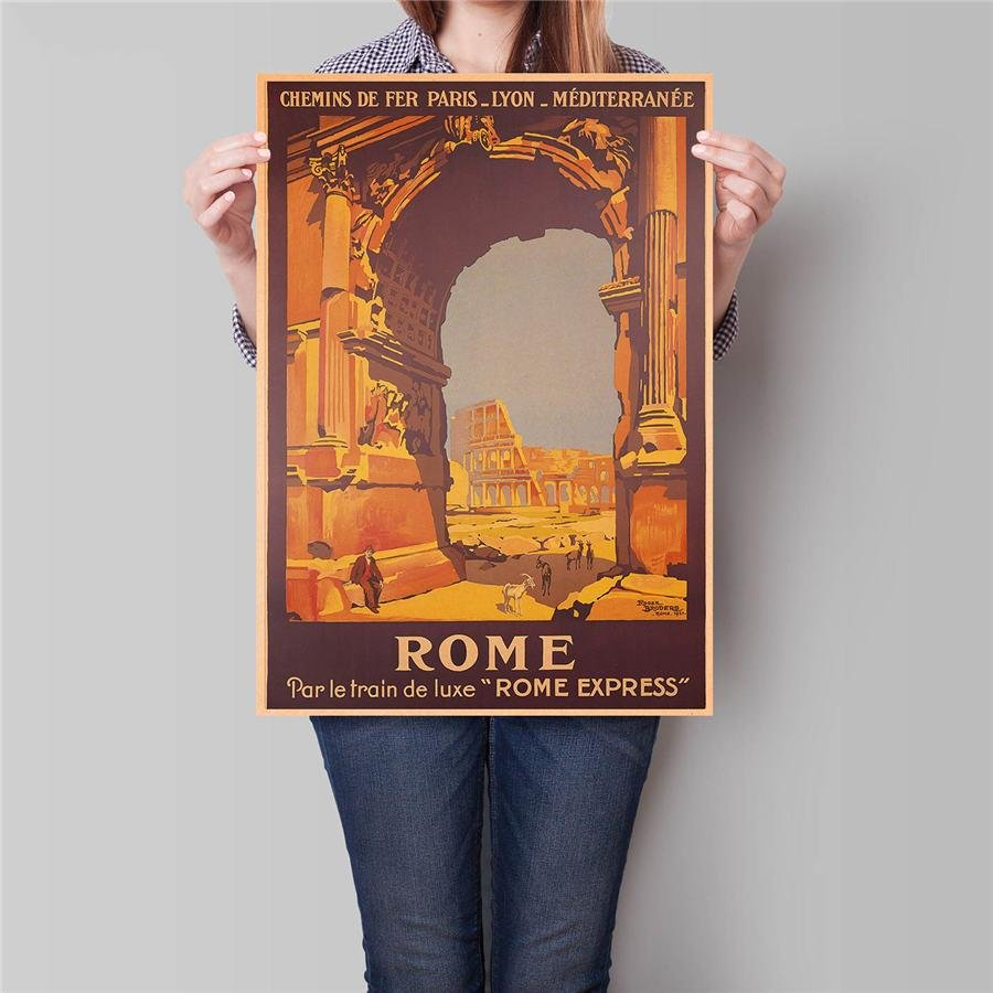 Italy Rome City Travel Poster Hand Painted Tourist Attractions Vintage Kraft Paper Poster 42x30cm