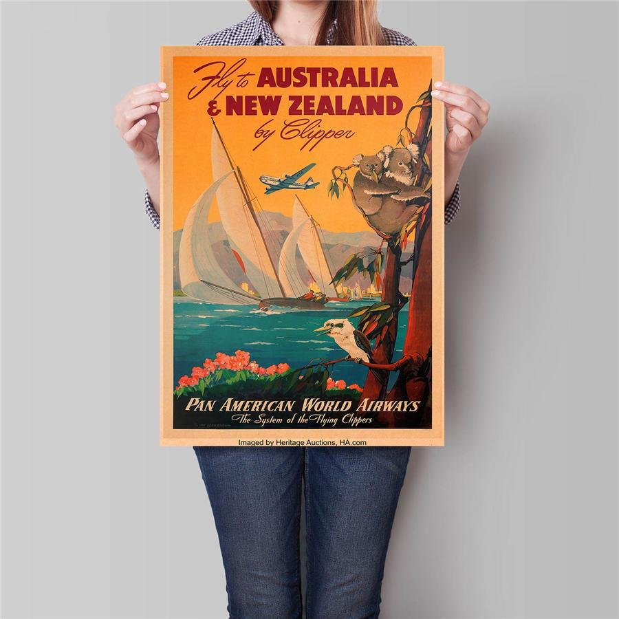 New Zealand City Travel Poster Hand Painted Tourist Attractions Vintage Kraft Paper Poster 42x30cm