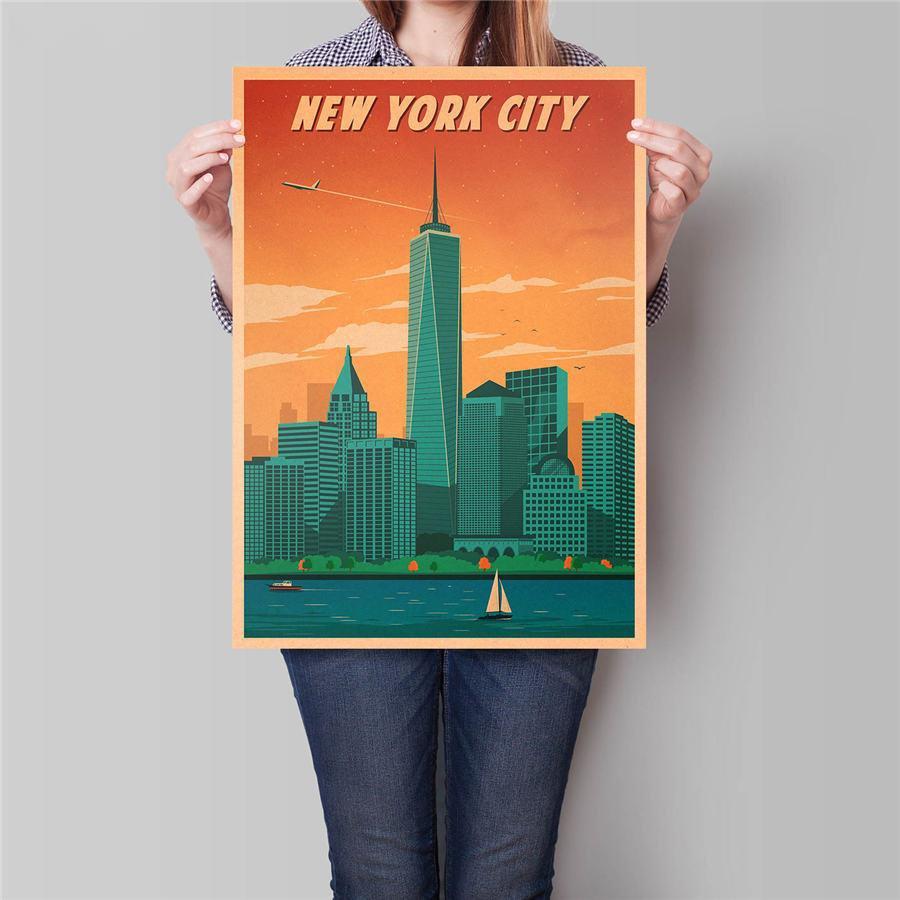 New York City Travel Poster Antique Landscape Painting Vintage Kraft Paper Poster 42x30cm