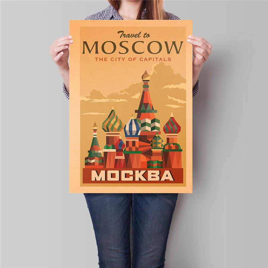 Moscow Tours Landscape Poster Hand Painted City Drawing Wall Sticker Poster 42x30cm