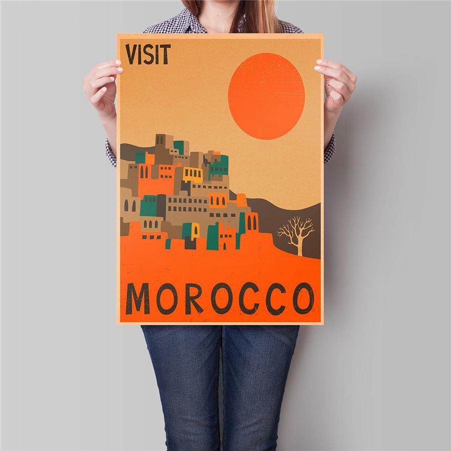 Morocco City Travel Poster Antique Landscape Painting Vintage Kraft Paper Poster 42x30cm