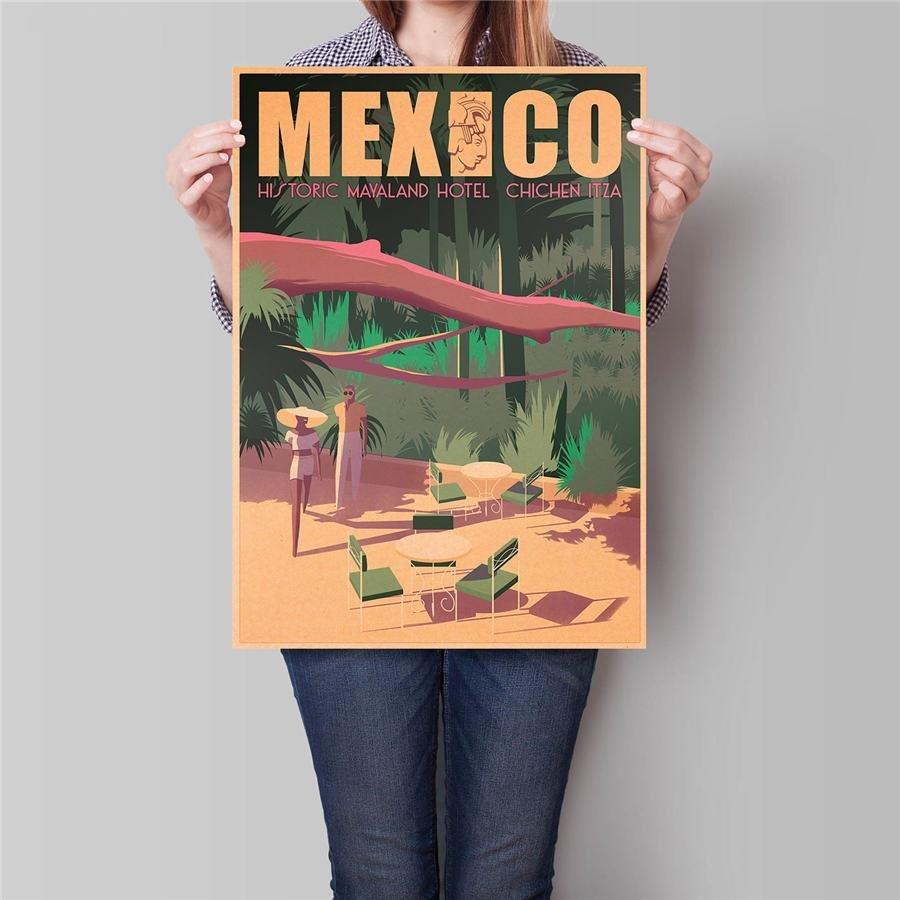 Mexico City Travel Poster Antique Summer Landscape Painting Vintage Kraft Paper Poster 42x30cm