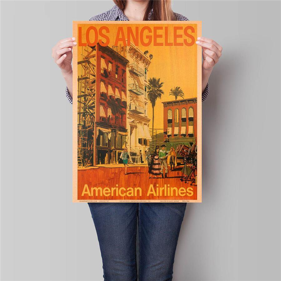 Log Angeles Landscape Poster Hand Painted City Drawing Wall Art Sticker Poster 42x30cm