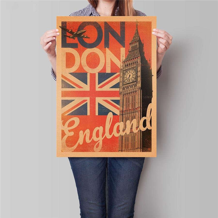 London Poster Hand Painted Big Ben Drawing City Travel Wall Art Kraft Paper Poster 42x30cm